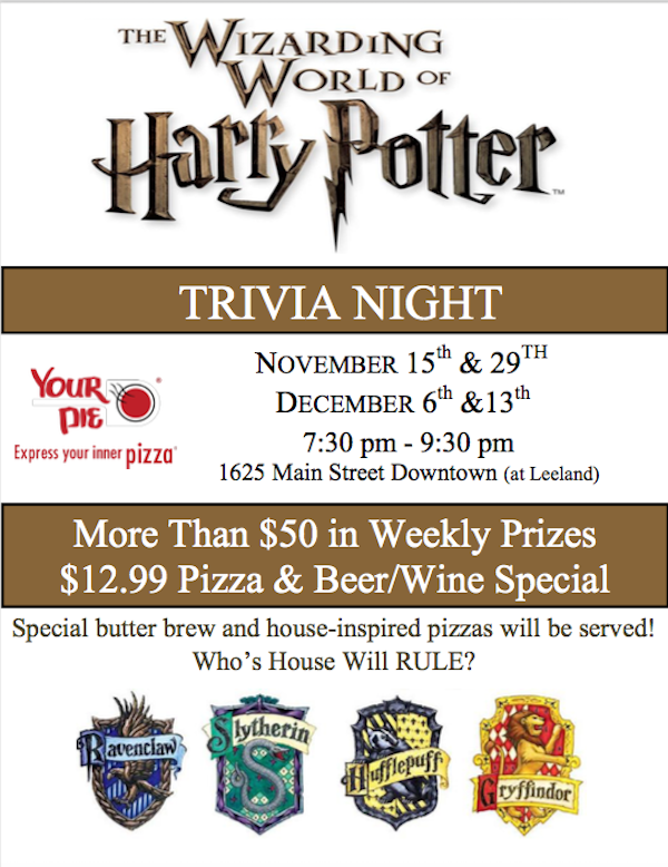 harry potter trivia night downtown houston 2017 your pie