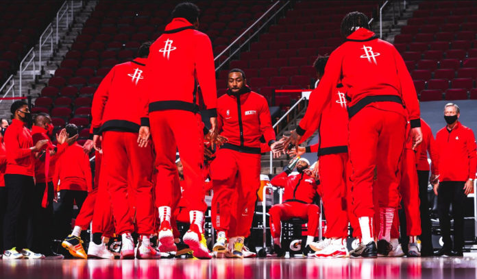 Houston Rockets players are introduced before a game