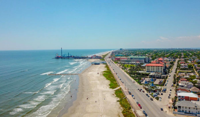 An aerial view of Pleasure Pier and the Seawall